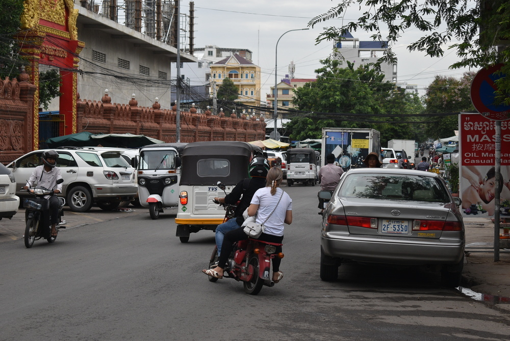 The traffic is slowly getting crowdy in early afternoon in Phnom Penh.
