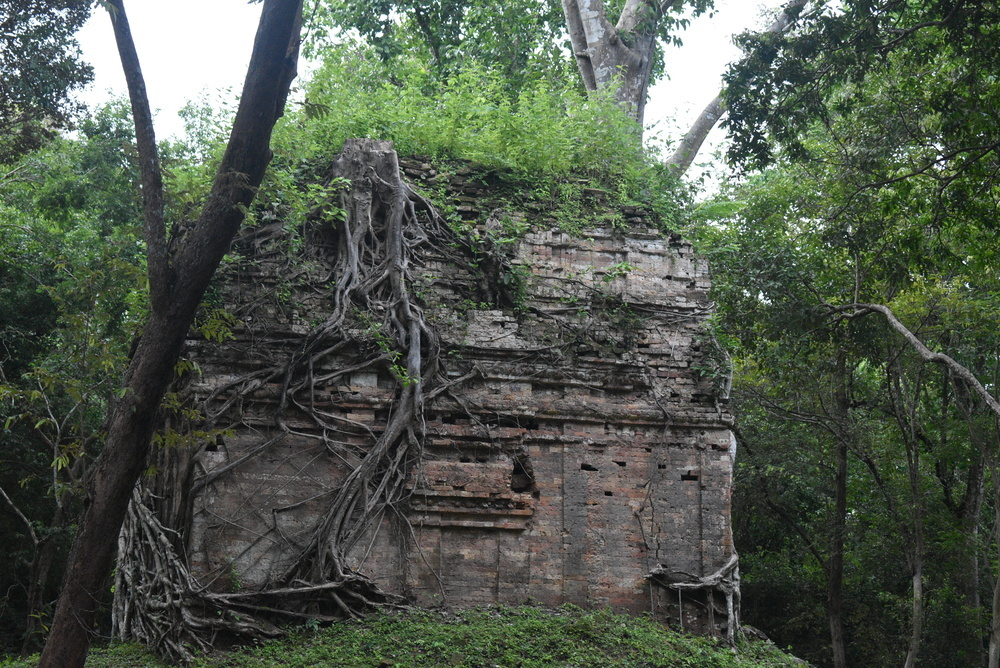 An unmarked Hindu temple slowly getting reclaimed by nature.