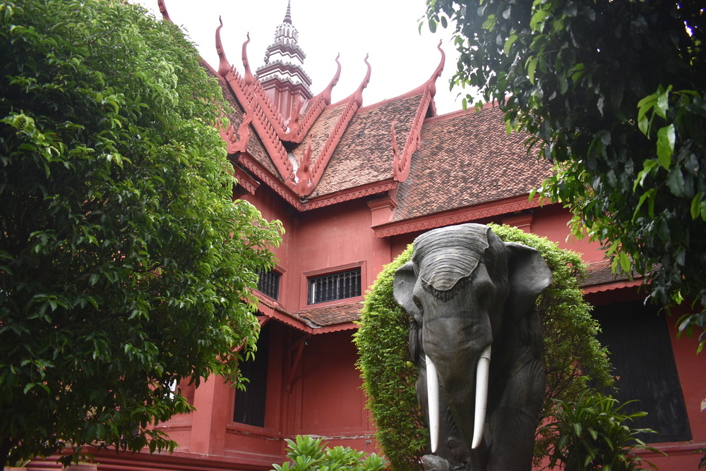 An elephant guards the entrance to the National Museum.