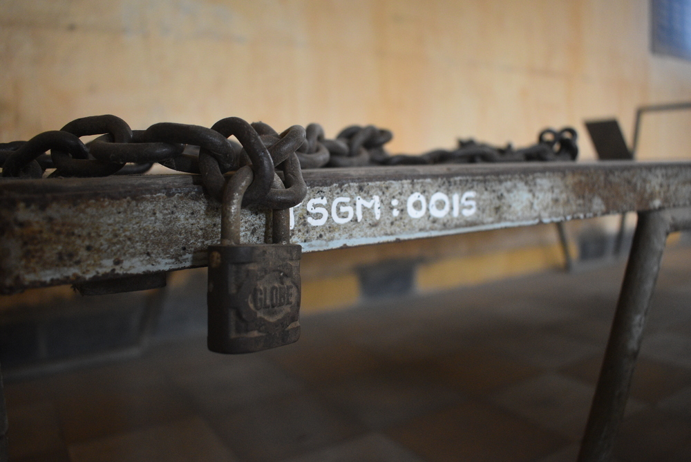 Most of the beds in Tuol Sleng have a lock, symbolizing the hardships of the prisoners there.