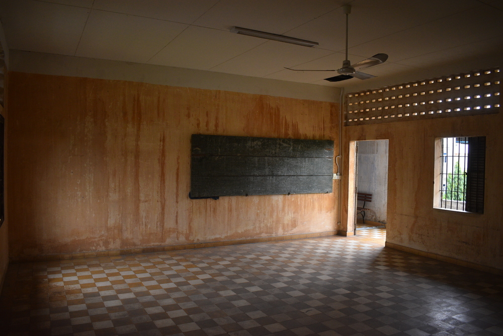 Haunting remnants of a former classroom.