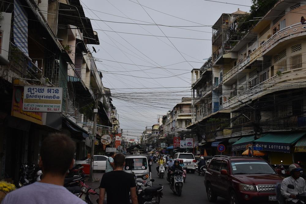 A chaotic Phnom Penh street.