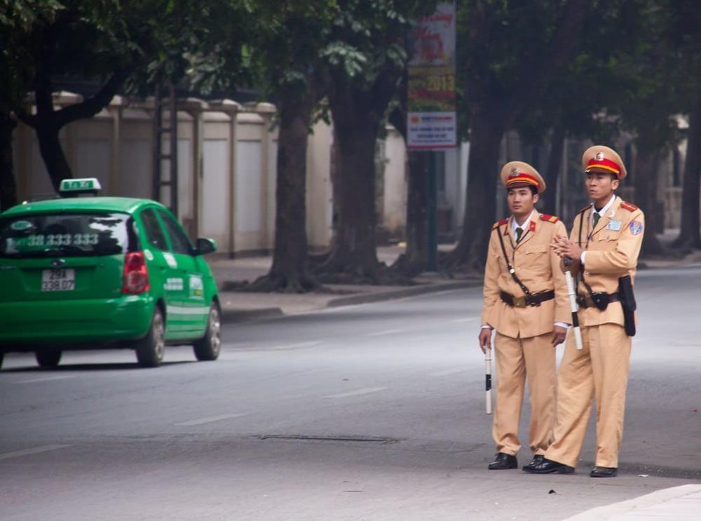 Vietnamese traffic police on streets