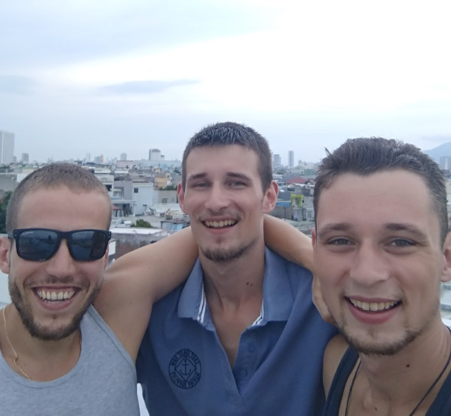 Three Croatian guys on a rooftop