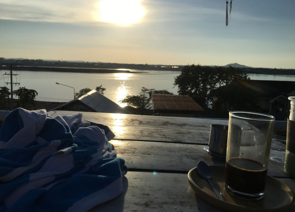 Vietnamese coffee with a view in Laos