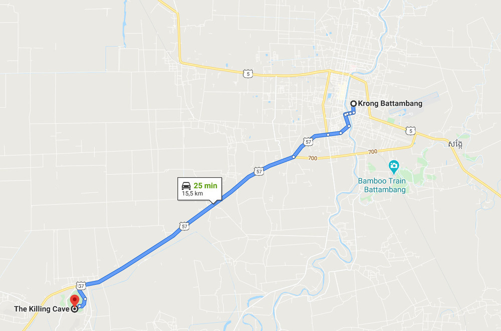 The route from Battambang to Phnom Sampeau is pretty straightforward; if you stick to the main road!