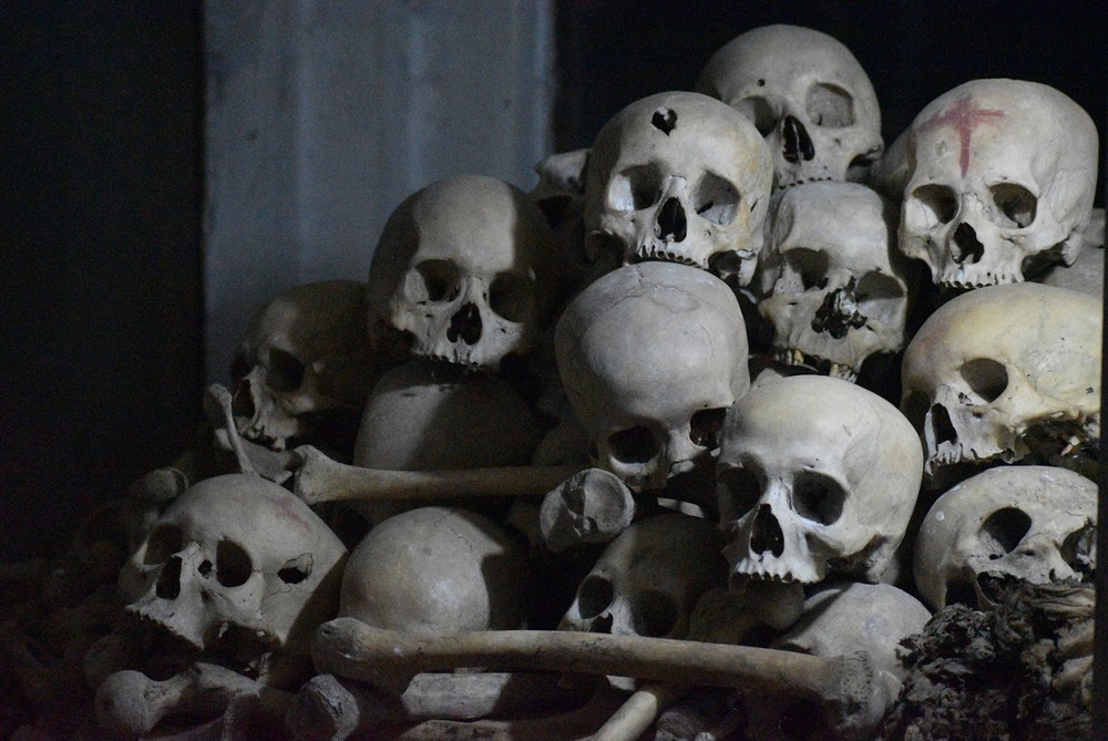The skulls of the Killing Caves victims.