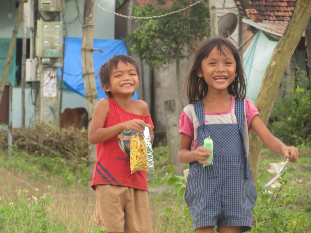 Happy kids from countryside