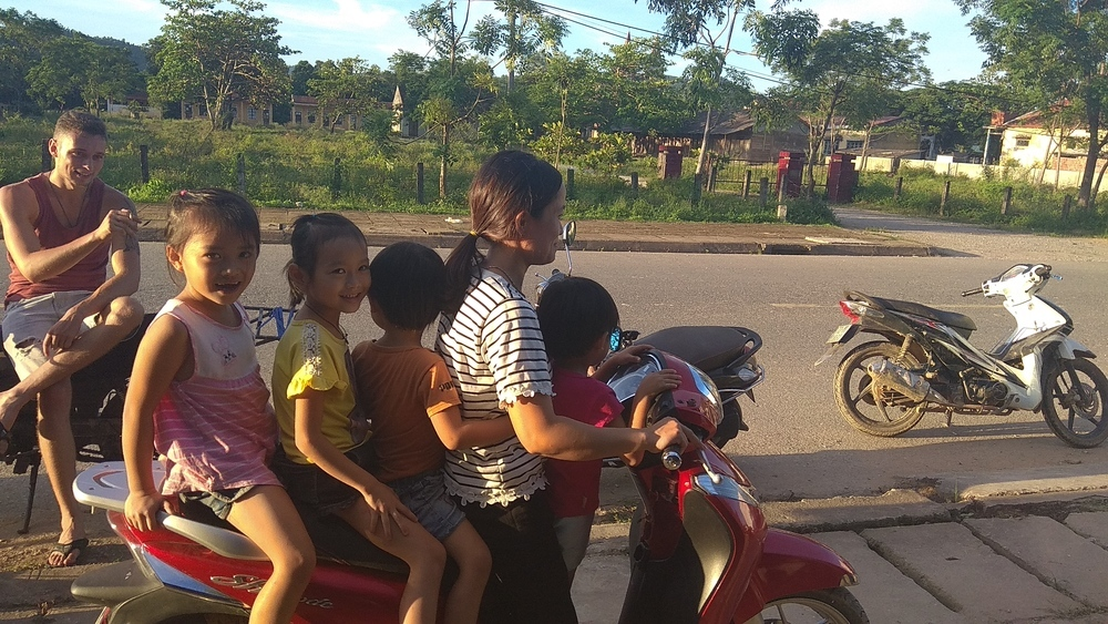 Five people on the motorbike