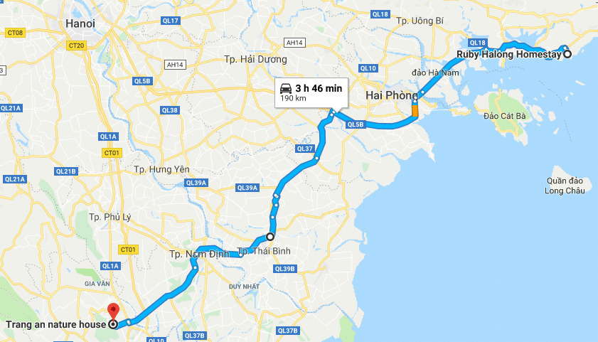 Route from Ha Long City to Trang An.