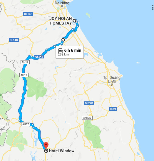 Route from Hoi An to Kon Tum.