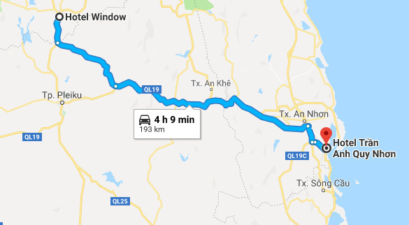 Route from Kon Tum to Quy Nhon.