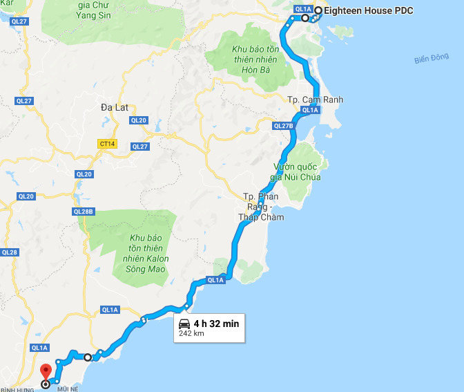 Route from Nha Trang to Phan Thiet.