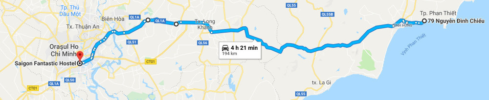 Route from Phan Thiet to Saigon.