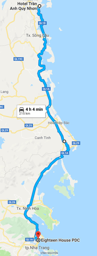 Route from Quy Nhon to Nha Trang.