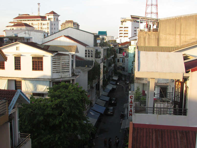 The balcony view from the Anh Xuan Hotel.