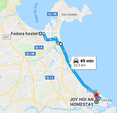 Route from Da Nang to Hoi An.