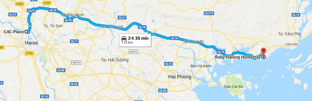 Route from Hanoi to Ha Long City.