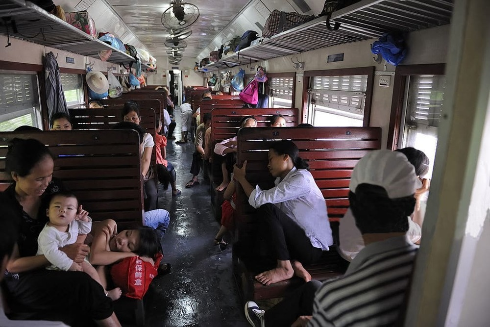 Hard seat trains in Vietnam have low hygiene standards, have caged windows, and are usually overcrowded. They are bearable for shorter journeys though.