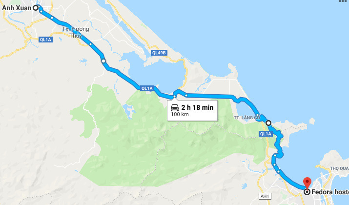 Route from Hue to Da Nang via Hai Van Pass.