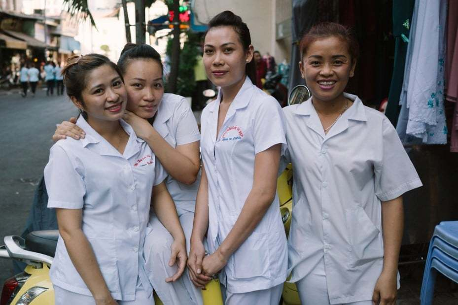 Massage ladies waiting for customers