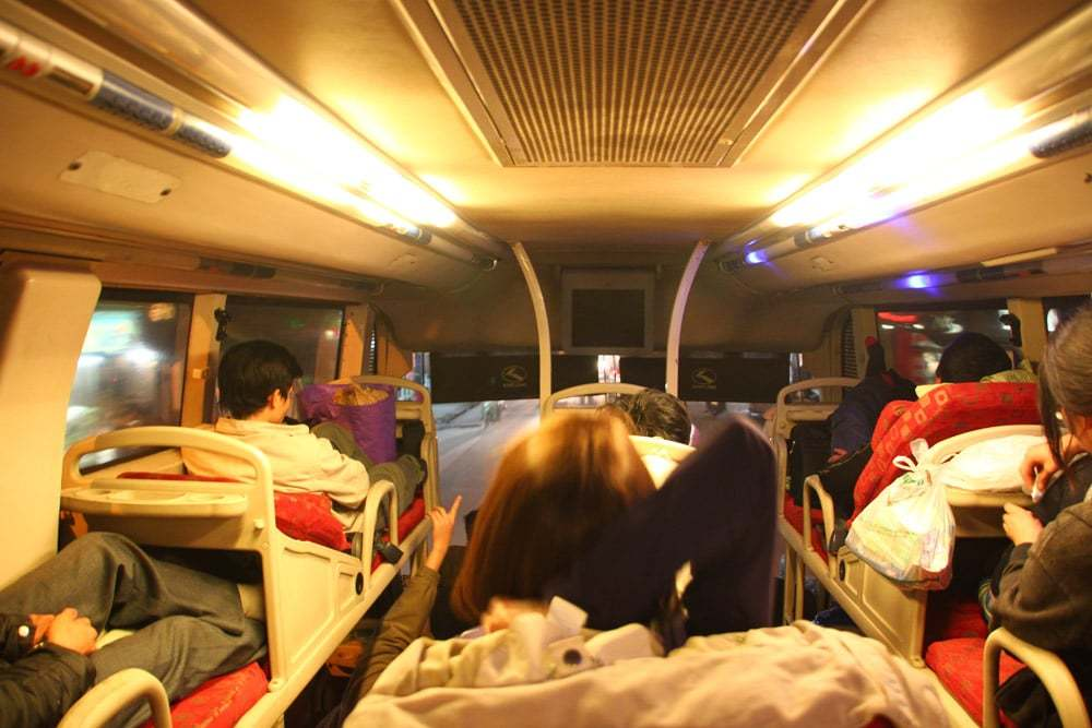 Sleeper berths fill up the overnight buses in Vietnam, which are nice and comfortable to get some good night's sleep.
