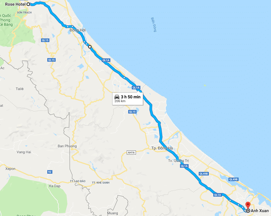Route from Phong Nha to Hue.