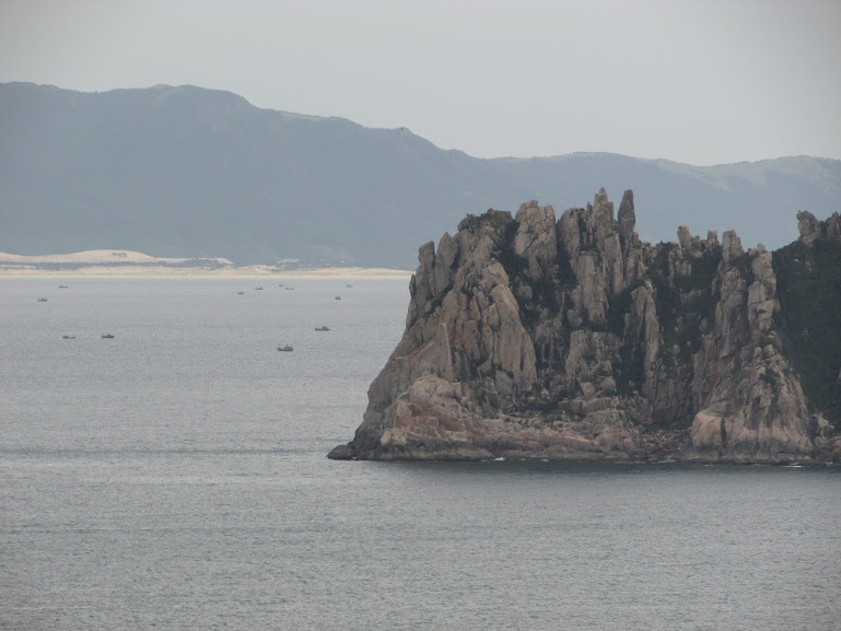 Rocky island on the way to Nha Trang.