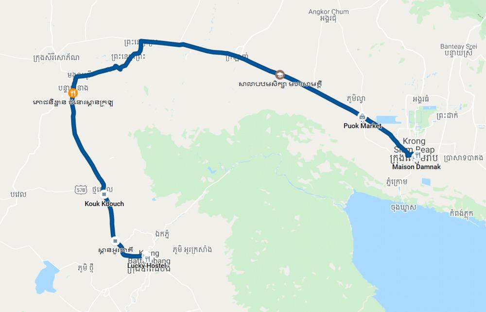 Siem Reap to Battambang Motorbike Route
