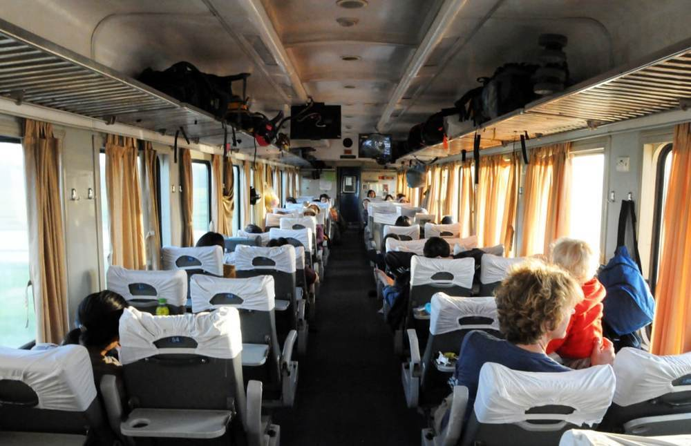 Soft seat trains in Vietnam are air-conditioned and very comfortable!
