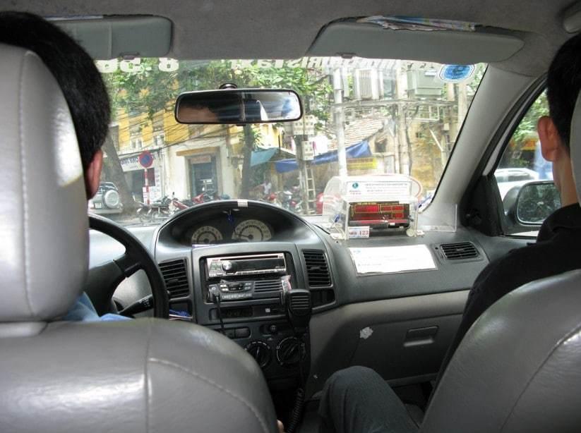 Inside a taxi car